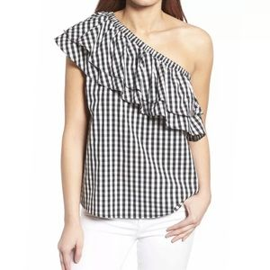 Halogen Black White Gingham One Shoulder Blouse